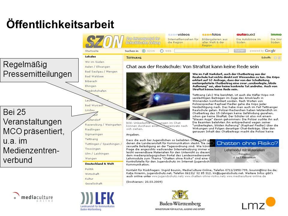 Öffentlichkeitsarbeit Bei 25 Veranstaltungen MCO präsentiert, u.a.
