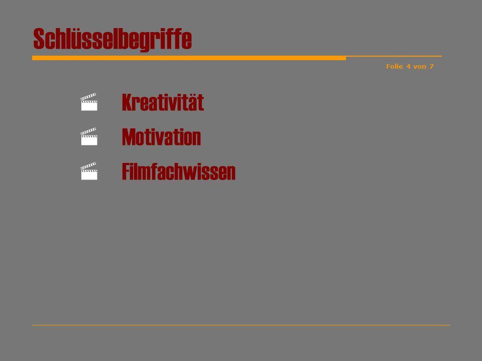 Schlüsselbegriffe Kreativität Motivation Filmfachwissen Folie 4 von 7