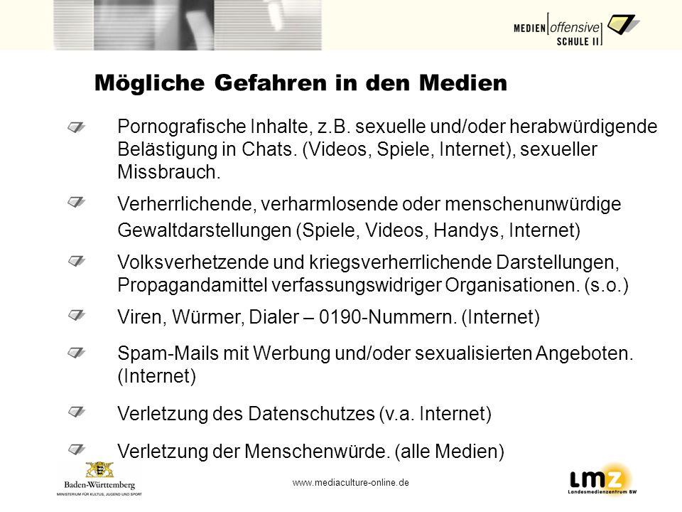 www.mediaculture-online.de Mögliche Gefahren in den Medien Pornografische Inhalte, z.B. sexuelle und/oder herabwürdigende Belästigung in Chats. (Video
