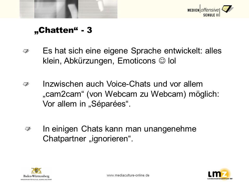www.mediaculture-online.de Chatten - 3 In einigen Chats kann man unangenehme Chatpartner ignorieren. Es hat sich eine eigene Sprache entwickelt: alles