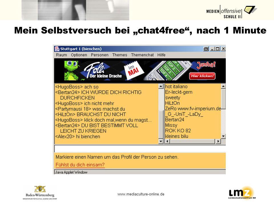 www.mediaculture-online.de Mein Selbstversuch bei chat4free, nach 1 Minute