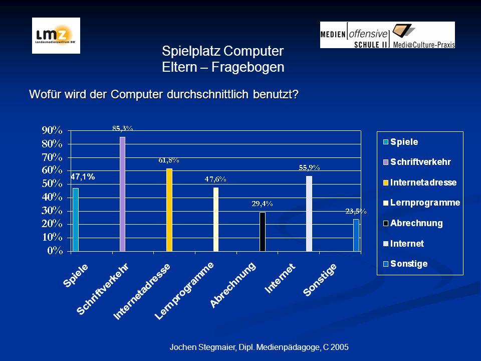 Jochen Stegmaier, Dipl.Medienpädagoge, C 2005 Wofür wird der Computer durchschnittlich benutzt.