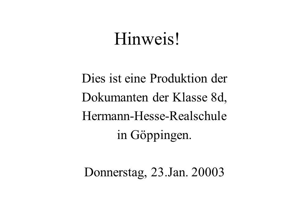 Hinweis! Dies ist eine Produktion der Dokumanten der Klasse 8d, Hermann-Hesse-Realschule in Göppingen. Donnerstag, 23.Jan. 20003