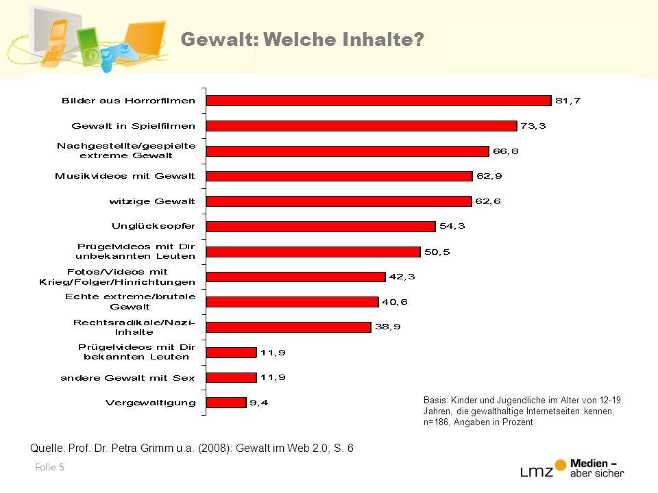 Folie 5 Gewalt: Welche Inhalte? Quelle: Prof. Dr. Petra Grimm u.a. (2008): Gewalt im Web 2.0, S. 6 Basis: Kinder und Jugendliche im Alter von 12-19 Ja