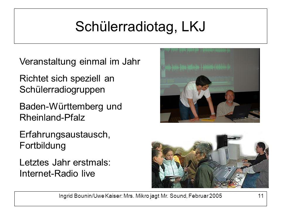 Ingrid Bounin/Uwe Kaiser: Mrs. Mikro jagt Mr. Sound, Februar 2005 11 Schülerradiotag, LKJ Veranstaltung einmal im Jahr Richtet sich speziell an Schüle