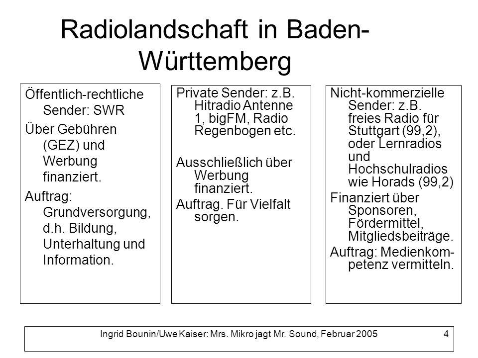 Ingrid Bounin/Uwe Kaiser: Mrs. Mikro jagt Mr. Sound, Februar 2005 4 Radiolandschaft in Baden- Württemberg Öffentlich-rechtliche Sender: SWR Über Gebüh