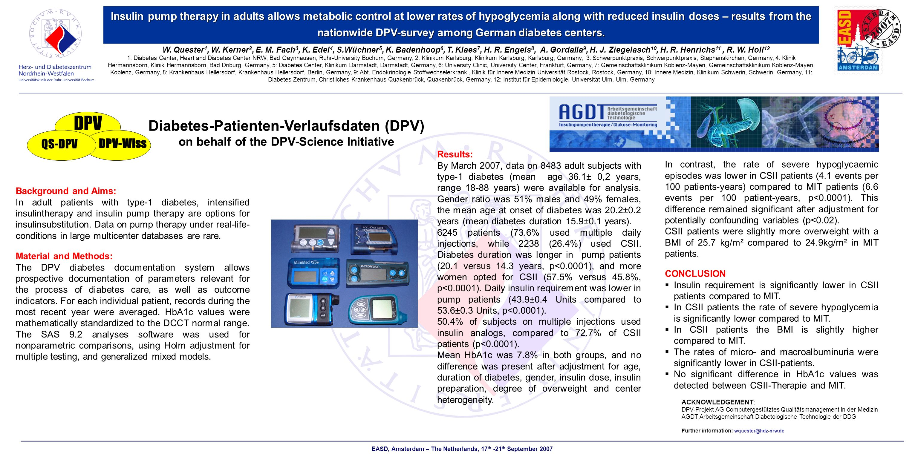 Insulin pump therapy in adults allows metabolic control at lower rates of hypoglycemia along with reduced insulin doses – results from the nationwide DPV-survey among German diabetes centers.