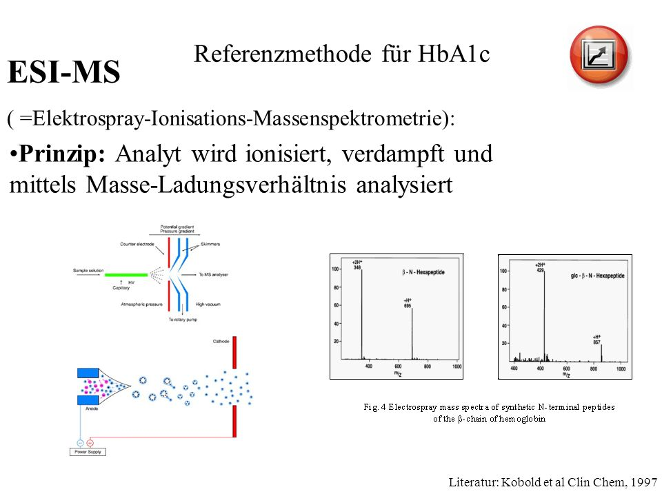Prinzip: Analyt wird ionisiert, verdampft und mittels Masse-Ladungsverhältnis analysiert Literatur: Kobold et al Clin Chem, 1997 Referenzmethode für HbA1c ESI-MS ( =Elektrospray-Ionisations-Massenspektrometrie):