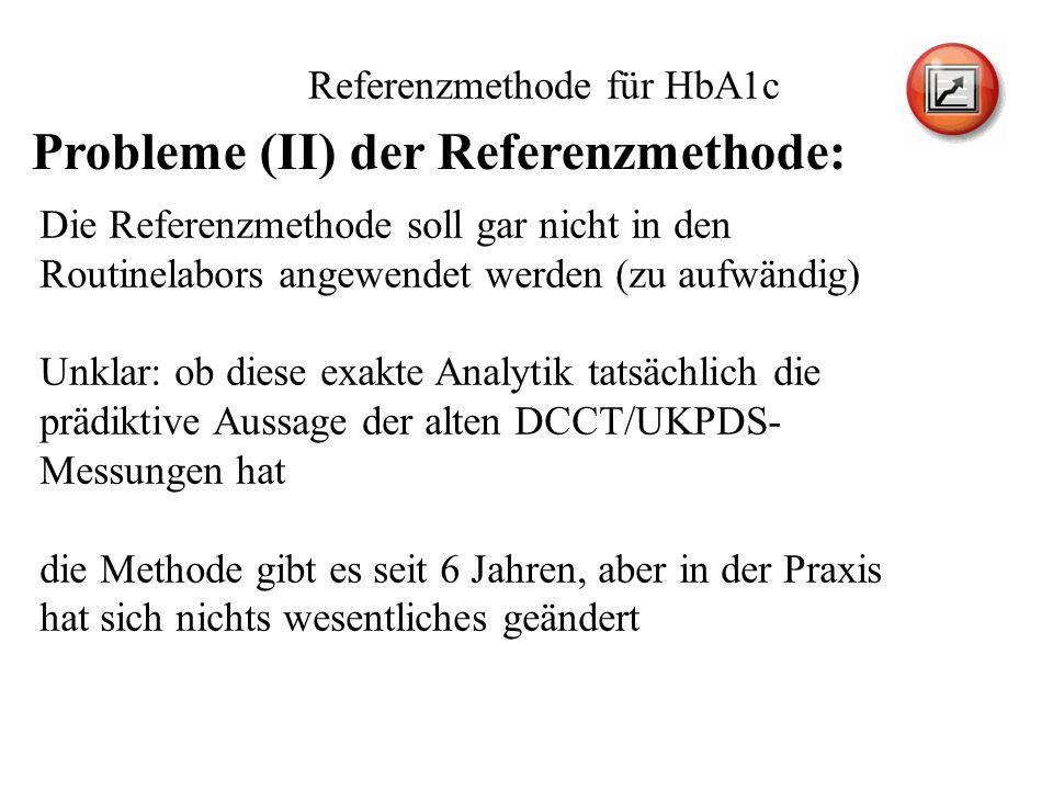Referenzmethode für HbA1c Die Referenzmethode soll gar nicht in den Routinelabors angewendet werden (zu aufwändig) Unklar: ob diese exakte Analytik ta