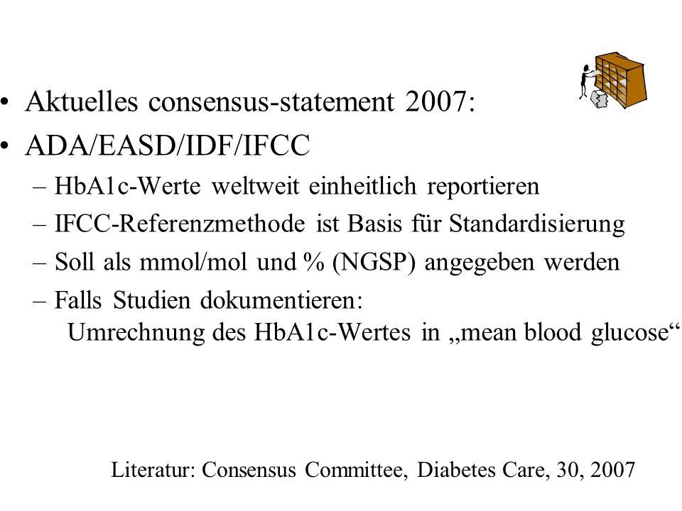 Literatur: Consensus Committee, Diabetes Care, 30, 2007 Aktuelles consensus-statement 2007: ADA/EASD/IDF/IFCC –HbA1c-Werte weltweit einheitlich report