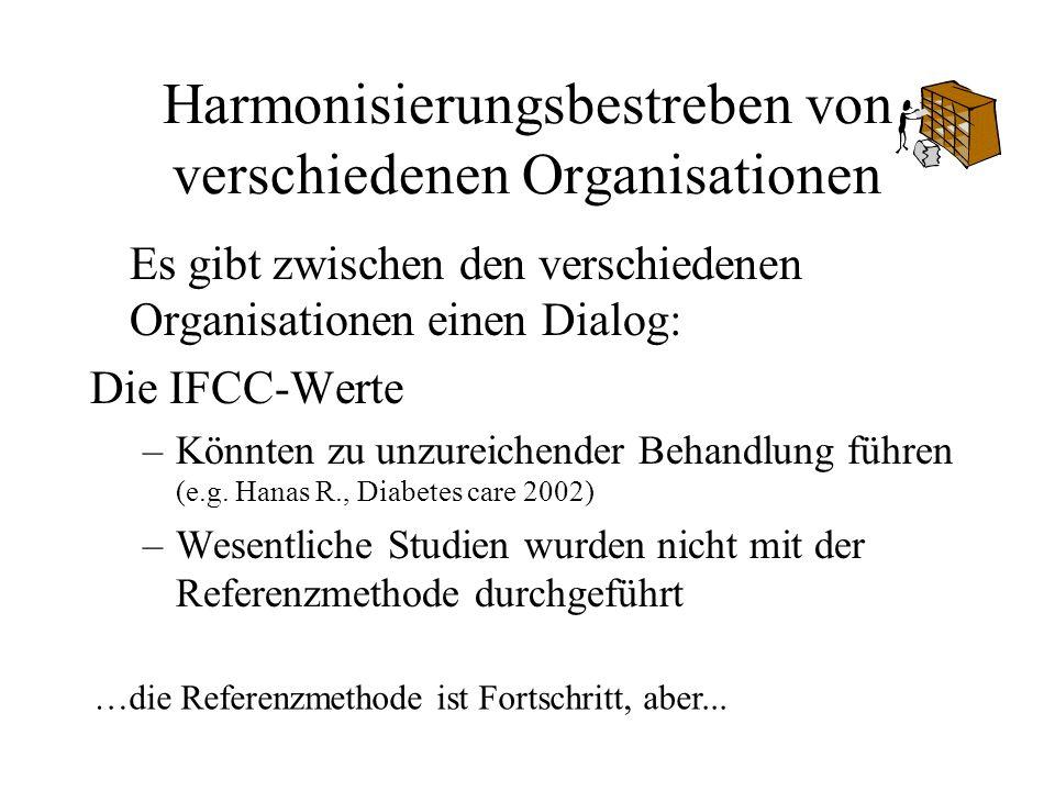 Harmonisierungsbestreben von verschiedenen Organisationen Es gibt zwischen den verschiedenen Organisationen einen Dialog: Die IFCC-Werte –Könnten zu u