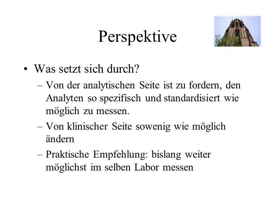 Perspektive Was setzt sich durch? –Von der analytischen Seite ist zu fordern, den Analyten so spezifisch und standardisiert wie möglich zu messen. –Vo