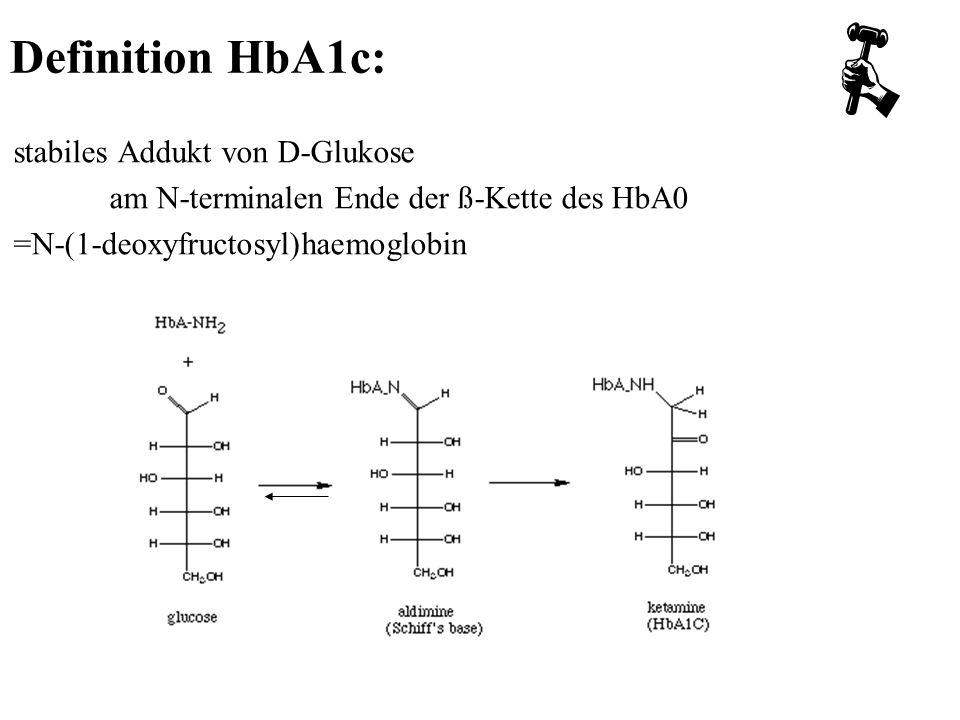 stabiles Addukt von D-Glukose am N-terminalen Ende der ß-Kette des HbA0 =N-(1-deoxyfructosyl)haemoglobin Definition HbA1c:
