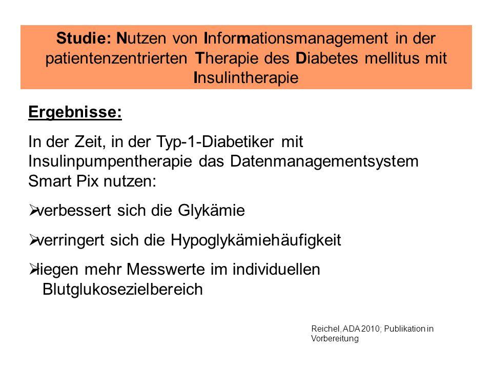 Reichel, ADA 2010; Publikation in Vorbereitung Studie: Nutzen von Informationsmanagement in der patientenzentrierten Therapie des Diabetes mellitus mi