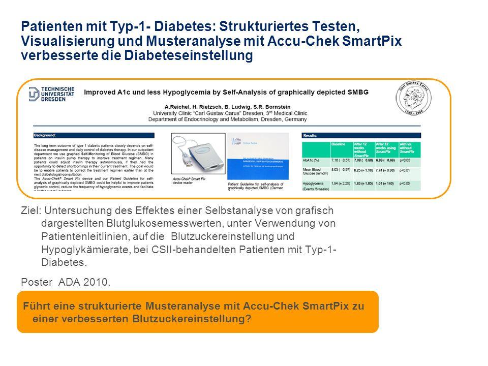 Randomisierte, prospektive cross-over Studie an einem Diabeteszentrum 25 Patienten mit Typ-1-Diabetes unter Insulinpumpentherapie, mittleres Alter 44 J, erhielten Accu-Chek SmartPix und Booklet mit Patientenleitlinien, um ihre Therapie anzupassen.
