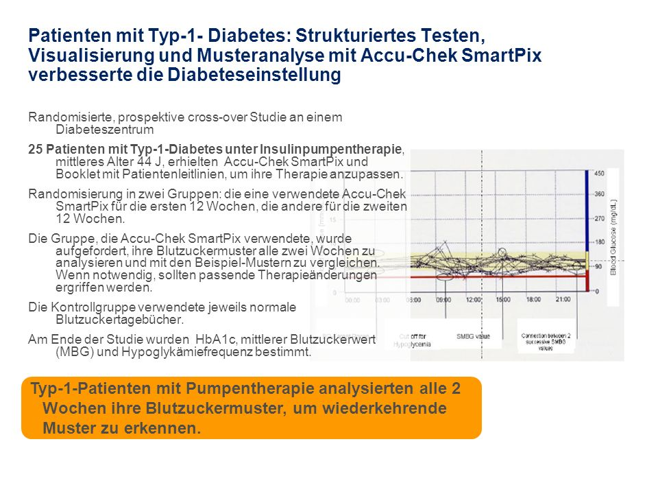 Randomisierte, prospektive cross-over Studie an einem Diabeteszentrum 25 Patienten mit Typ-1-Diabetes unter Insulinpumpentherapie, mittleres Alter 44