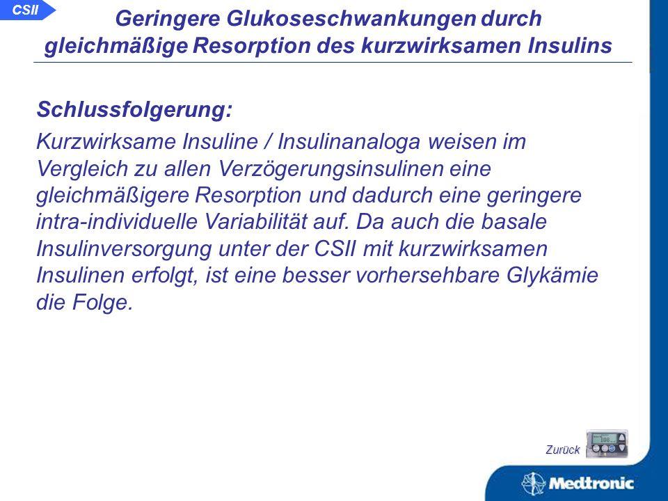 Vergleich der Glukoseinfusionsrate bei 20 Patienten mit Typ-1- Diabetes nach dosisgleicher Insulininjektion und CSII im euglykämischen Clamp-Versuch: Lepore M et.al.: Diabetes 49 Suppl.1 (5/2000), 436-OR 0 6 12 18 24 Zeit (Stunden) NPH-InsulinUltralenteGlargineCSII Pharmakodynamik von Verzögerungsinsulinen und CSII Zurück CSII