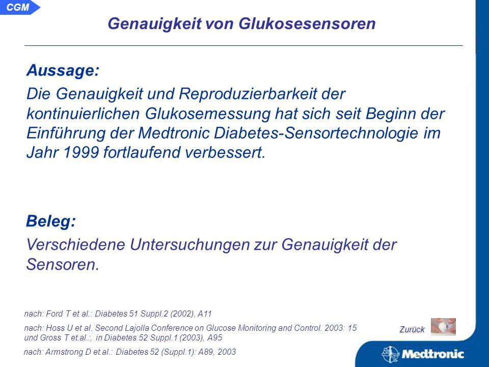 Genauigkeit von Glukosesensoren: Historie und Gegenwart Fehlertoleranzen beim CGM im Vergleich zur punktuellen Blutzuckerselbstkontrolle Genauigkeit von Glukosesensoren Zurück CGM