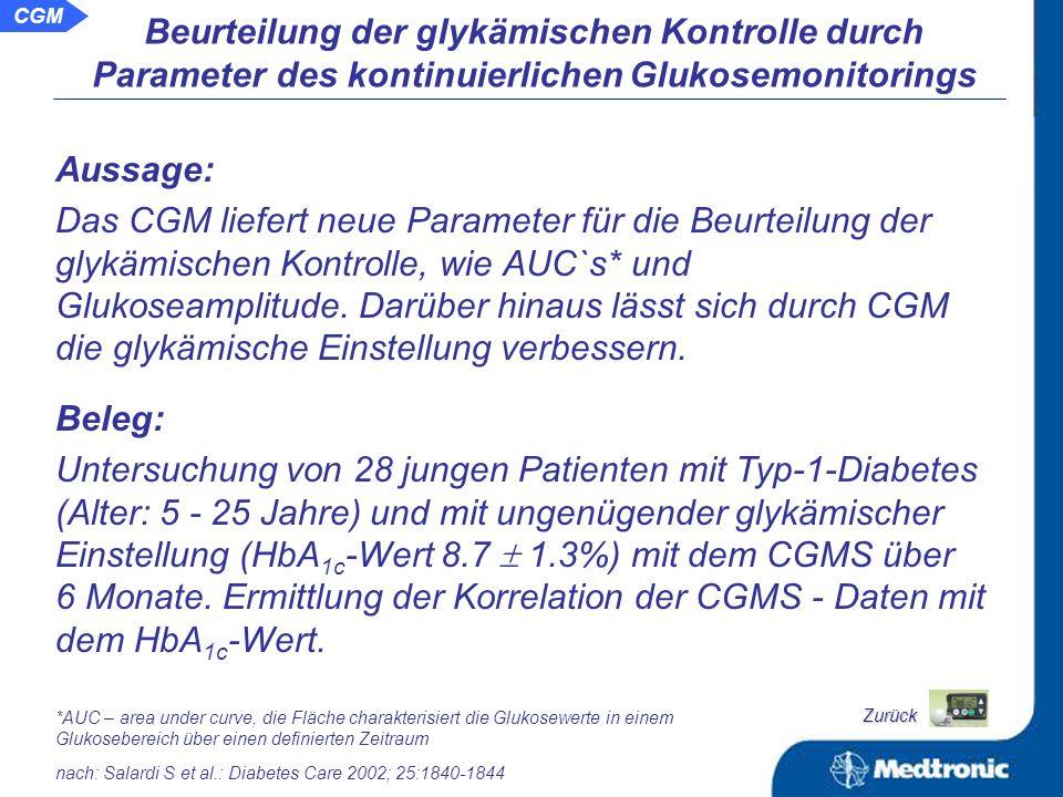 Verbesserung der glykämischen Einstellung durch Nutzung aktueller Glukosewerte beim Glukosemonitoring Einfluss des kontinuierlichen Glukosemonitorings mit aktuellen Glukosewerten auf die Glykämie CGM mit Anzeige aktueller Glukosewerte kann die Diabeteseinstellung verbessern Ergebnisse mit CGM (2) Zurück Potential und Möglichkeiten für das kontinuierliche Glukosemonitoring CGM mit einem Alarmierungssystem auf Basis aktueller Glukosewerte verringert die Rate an Hypo- und Hyperglykämien Anwendung des Glukosesensors Guardian ® als Alarmsystem bei zu hohen Glukoseauslenkungen Verringerung der Rate an Hypoglykämien durch Nutzung aktueller Glukosewerte beim Glukosemonitoring CGM hat vielfältiges Potential für die Zukunft CGM
