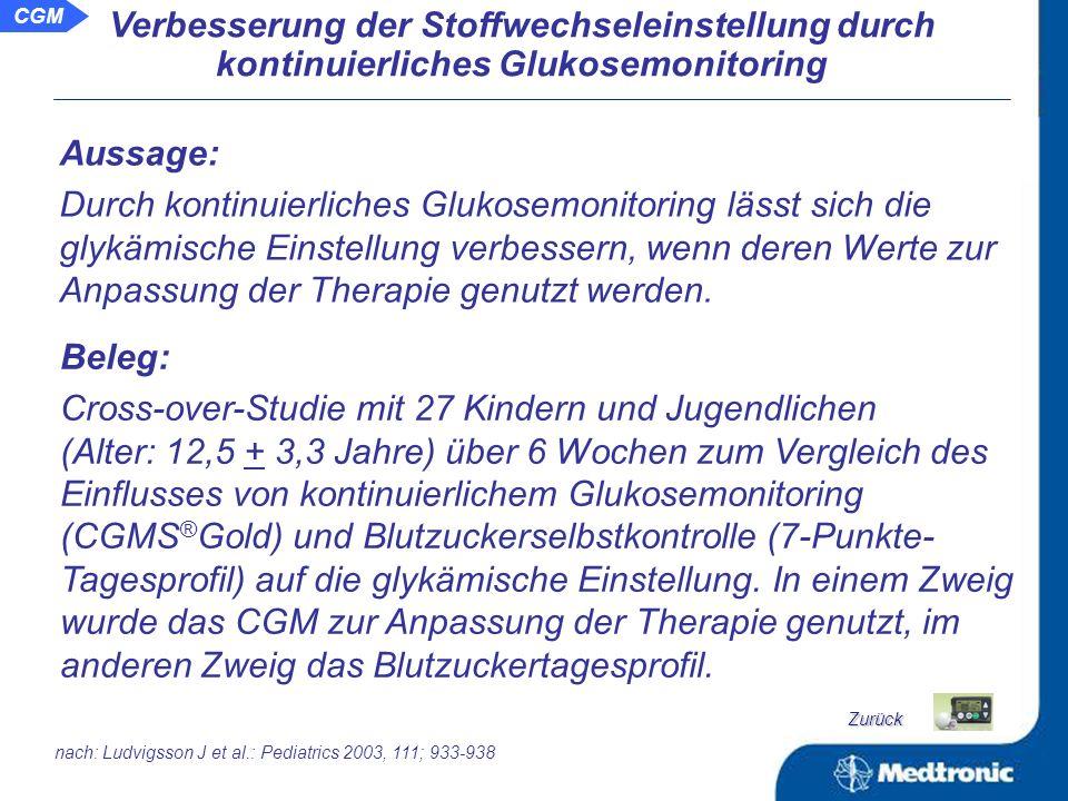 CGM Schlussfolgerung: Das Glukosemonitoring zeigt, dass die glykämischen Auslenkungen auch bei vergleichbarem HbA 1c -Wert stark unterschiedlich sein können.