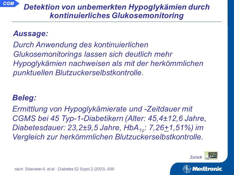 Schlussfolgerung: Trotz gleichwertige Verbesserung des HbA 1c.- Wertes in beiden Gruppen der Studie lässt sich durch Einsatz des CGMS eine deutlich höhere Rate an Hypoglykämien nachweisen, was die verbrachten Zeiten in diesem Zustand signifikant senkt.