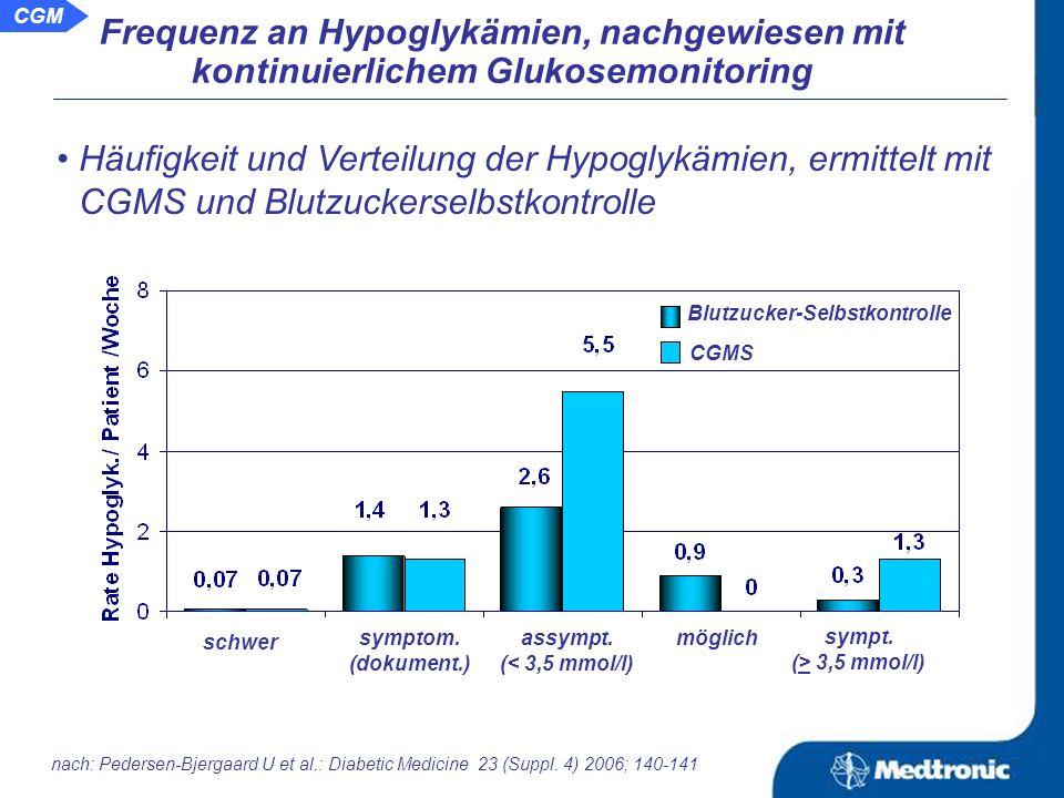 Aussage: Die wirkliche Frequenz an Hypoglykämien und den Grad ihrer Ausprägung lässt sich mittels kontinuierlichem Glukosemonitorings sicherer nachweisen als mit der Blutzuckerselbstkontrolle.