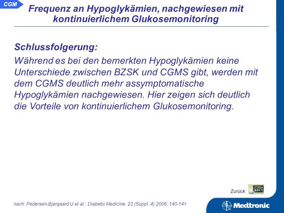 Frequenz an Hypoglykämien, nachgewiesen mit kontinuierlichem Glukosemonitoring Häufigkeit und Verteilung der Hypoglykämien, ermittelt mit CGMS und Blutzuckerselbstkontrolle schwer symptom.
