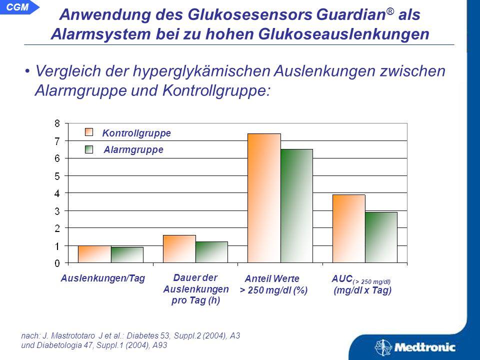 Aussage: Durch Nutzung der auf aktuellen Glukosewerten basierenden Alarme ist es möglich hypo- und hyperglykämischen Auslenkungen und deren Zeitdauer zu verringern.