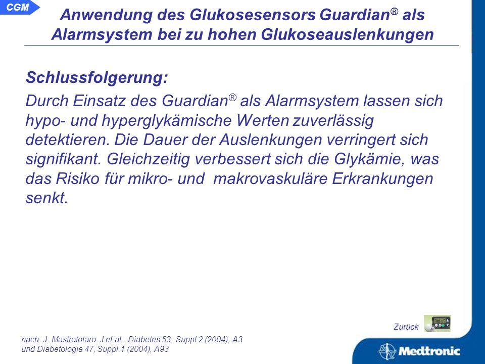 Anwendung des Glukosesensors Guardian ® als Alarmsystem bei zu hohen Glukoseauslenkungen Vergleich der hypoglykämischen Auslenkungen zwischen Alarmgruppe und Kontrollgruppe: nach: J.