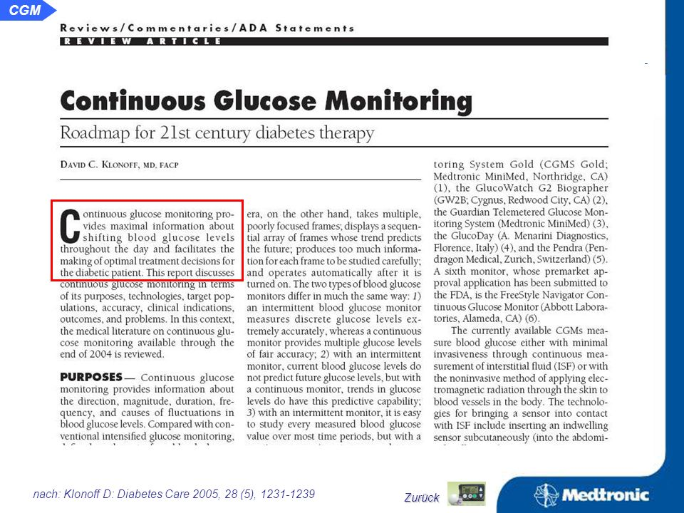 Potential und Möglichkeiten für das kontinuierliche Glukosemonitoring Neubeurteilung der Glykämie.