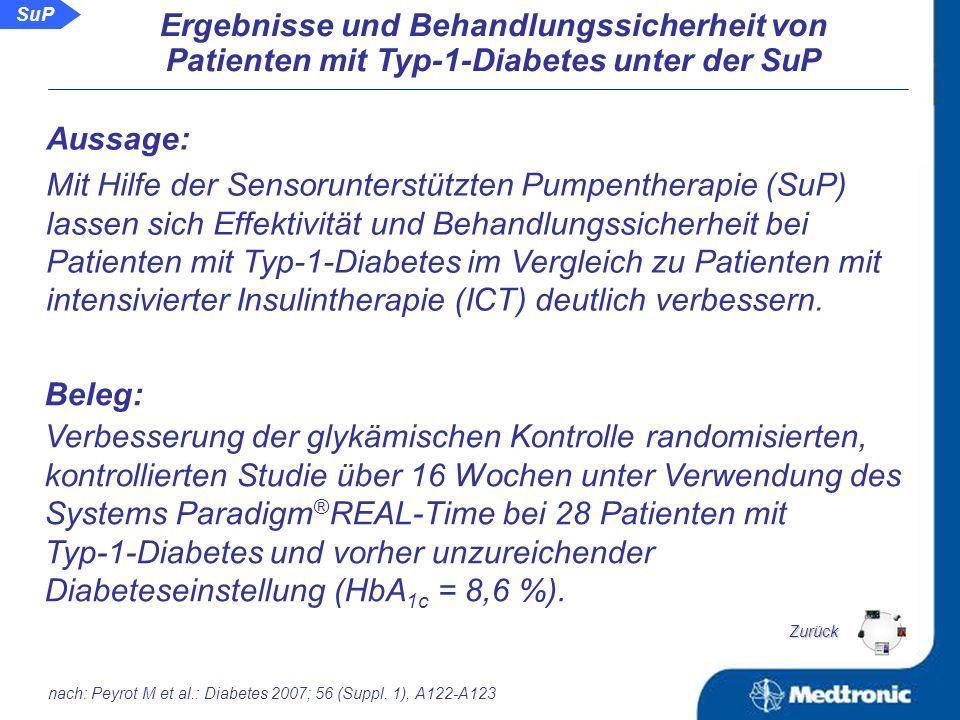 SuP Sensorunterstützte Pumpentherapie bei erwachsenen Patienten mit Typ-1-Diabetes Schlussfolgerung: Die dauerhafte Anwendung eines Glukosesensors mit Anzeige aktueller Glukosewerte optimiert die Stoffwechseleinstellung sowohl unter der ICT als auch unter der CSII.