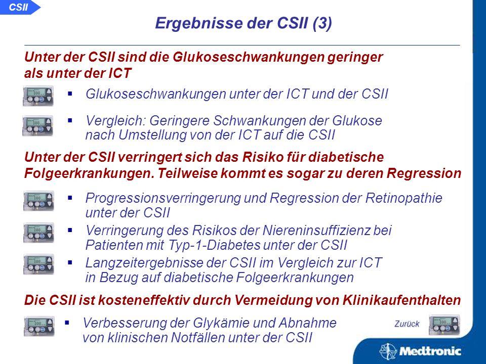 Abnahme von Hypoglykämien unter der CSII Weitere Studien zum Vergleich: Abnahme von Hypoglykämien unter der CSII Effektivität der CSII bei Typ-1-Diabetikern mit häufigen schweren Hypoglykämien CSII verringert die Rate an Hypoglykämien Ergebnisse der CSII (2) Glukosespiegel unter der ICT mit langwirksamen Insulinanaloga und unter der CSII Vergleich von CSII und ICT mit Glargin in der Nachtzeit durch kontinuierliches Glukosemonitoring Vergleich der Insulin- und Glukosevariabilität der BOT und der CSII bei Patienten mit Typ-2-Diabetes Argumente pro CSII vs.