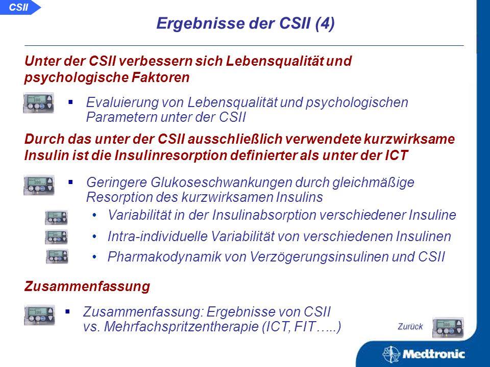 Glukoseschwankungen unter der ICT und der CSII Vergleich: Geringere Schwankungen der Glukose nach Umstellung von der ICT auf die CSII Unter der CSII sind die Glukoseschwankungen geringer als unter der ICT Ergebnisse der CSII (3) Progressionsverringerung und Regression der Retinopathie unter der CSII Verringerung des Risikos der Niereninsuffizienz bei Patienten mit Typ-1-Diabetes unter der CSII Langzeitergebnisse der CSII im Vergleich zur ICT in Bezug auf diabetische Folgeerkrankungen Unter der CSII verringert sich das Risiko für diabetische Folgeerkrankungen.