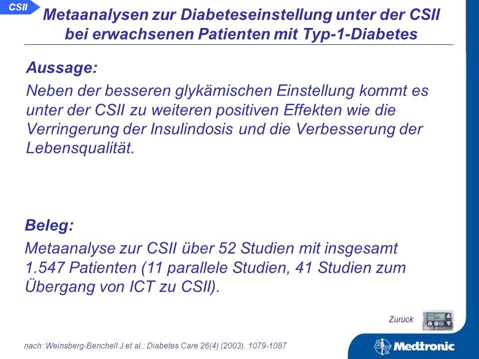 Ergebnisse bei erwachsenen Patienten mit Typ-1-Diabetes: Rate an moderaten Hypoglykämien: ICTCSII Metaanalysen zur Diabeteseinstellung unter der CSII bei erwachsenen Patienten mit Typ-1-Diabetes nach: Horvath K et al.: Diabetes 2007; 56 (Suppl.