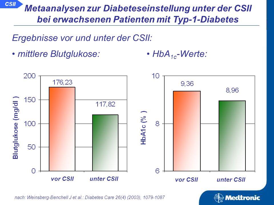 Aussage: Neben der besseren glykämischen Einstellung kommt es unter der CSII zu weiteren positiven Effekten wie die Verringerung der Insulindosis und die Verbesserung der Lebensqualität.