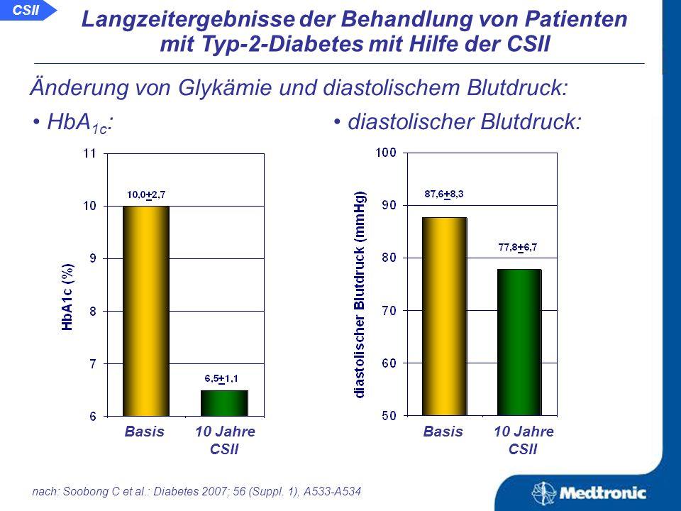 Aussage: Die CSII führt auch bei Patienten mit Typ-2-Diabetes langzeitlich zu einer guten Blutzuckereinstellung und gleichzeitig zu einer Verbesserung der Lipidparameter.