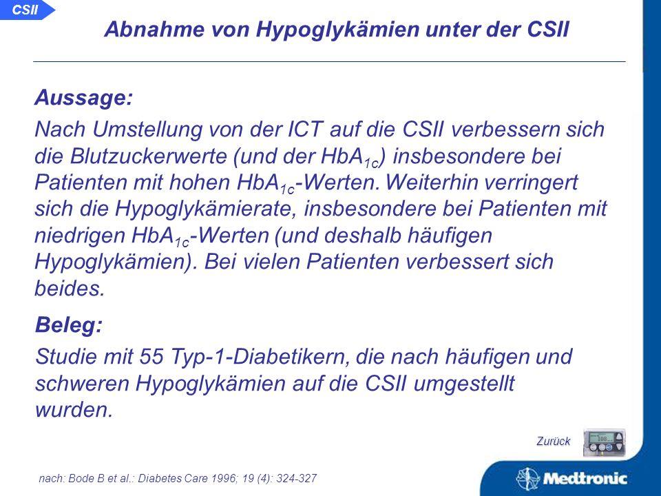 CSII Langzeitergebnisse der Behandlung von Patienten mit Typ-2-Diabetes mit Hilfe der CSII Schlussfolgerung: Die Anwendung der CSII über einen langen Zeitraum führt auch bei Patienten mit Typ-2-Diabetes zu einer euglykämischen Blutzuckereinstellung bei gleichzeitiger Verbesserung der kardiovaskulären Risikofaktoren.