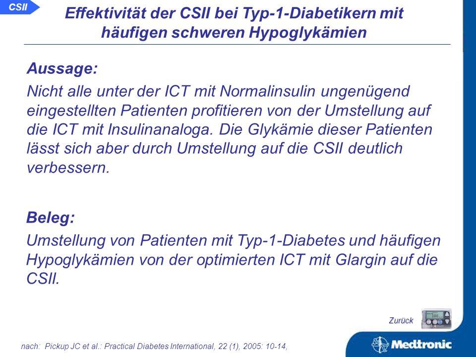 Hypoglykämierate in mehrerer Studien vor und unter der CSII: nach: Chantelau E, et al.