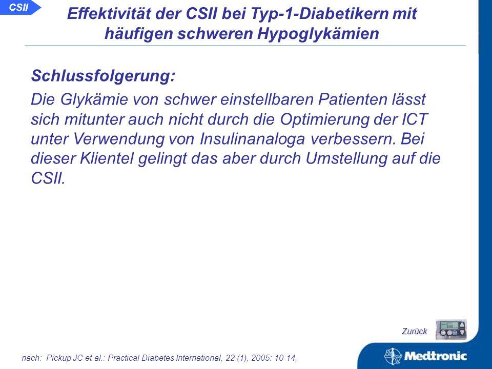 nach: Pickup JC et al.: Practical Diabetes International, 22 (1), 2005: 10-14, Effektivität der CSII bei Typ-1-Diabetikern mit häufigen schweren Hypoglykämien Anteil hypoglykämischer Werte und Glukosevariabilität: ICTCSIIICTCSIIICTCSII Schwierig einstellbare Patienten mit Hypoglykämieneigung verbessern sich wenig bei der Umstellung der ICT auf Glargin, jedoch signifikant bei Umstellung auf die CSII CSII