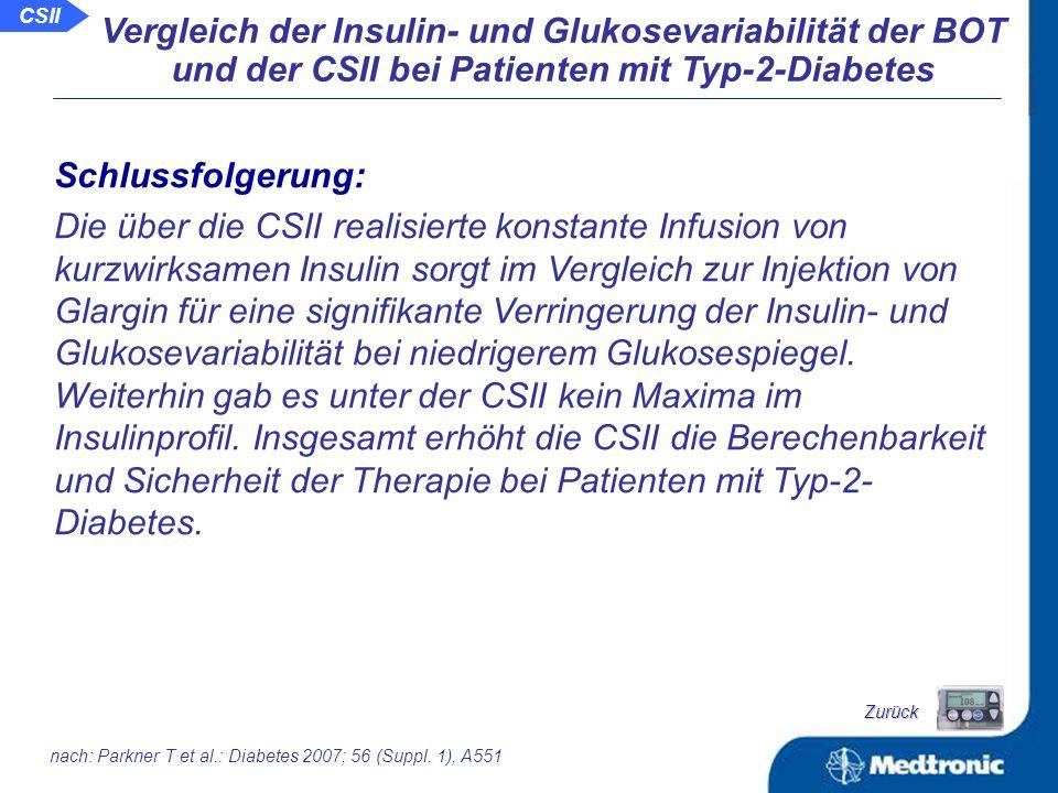 Vergleich der Insulin- und Glukosevariabilität der BOT und der CSII bei Patienten mit Typ-2-Diabetes Verringerung der intra-individuellen Variabilität von der CSII mit Aspart im Vergleich zur BOT mit Glargin: Nüchtern- Plasmainsulin Nüchtern- Plasmaglukose p = 0,012 p = 0,104 Glykämie: -Plasmaglukose- konzentration CSII vs.