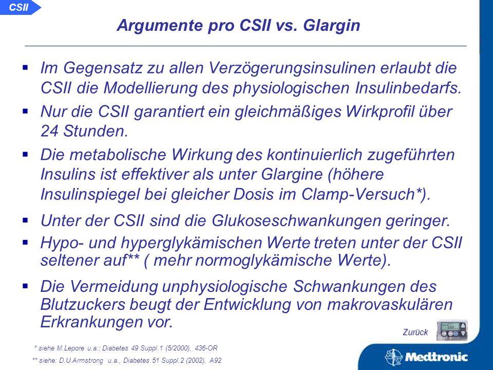 Vergleich der Insulin- und Glukosevariabilität der BOT und der CSII bei Patienten mit Typ-2-Diabetes Schlussfolgerung: Die über die CSII realisierte konstante Infusion von kurzwirksamen Insulin sorgt im Vergleich zur Injektion von Glargin für eine signifikante Verringerung der Insulin- und Glukosevariabilität bei niedrigerem Glukosespiegel.