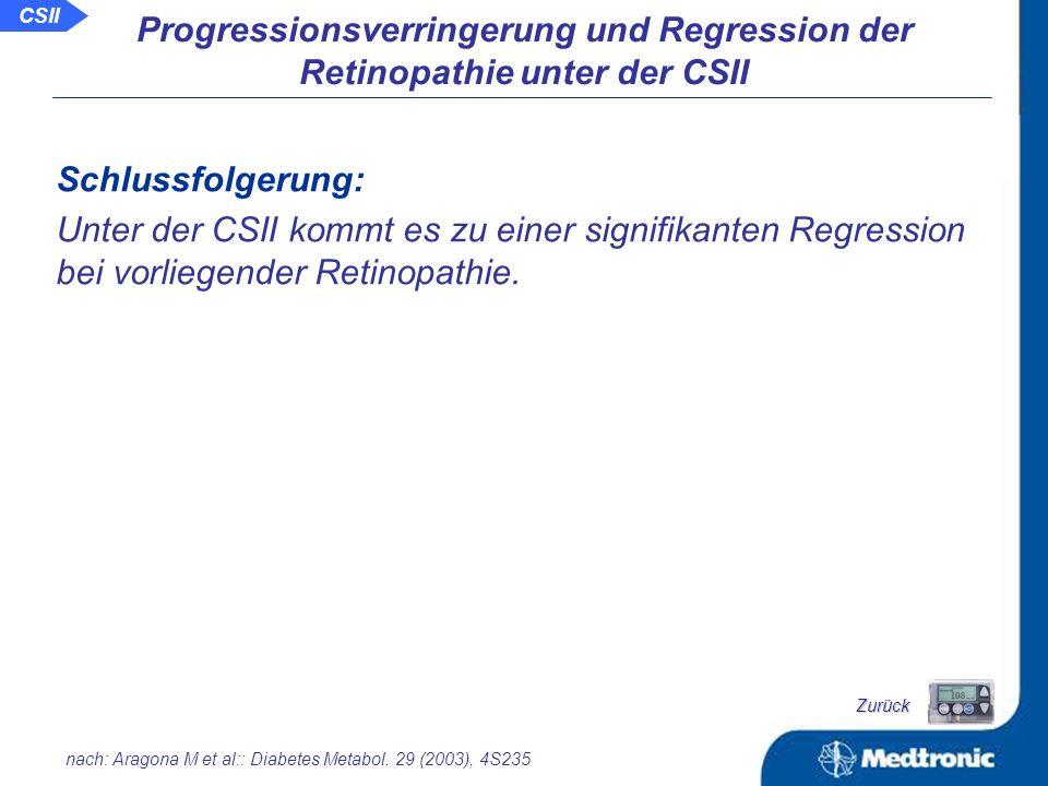 Veränderungen des Zustands der Retinopathie nach zwei Jahren im Vergleich zum Beginn der CSII: RP 1 2 3 4-5 0 Beg.
