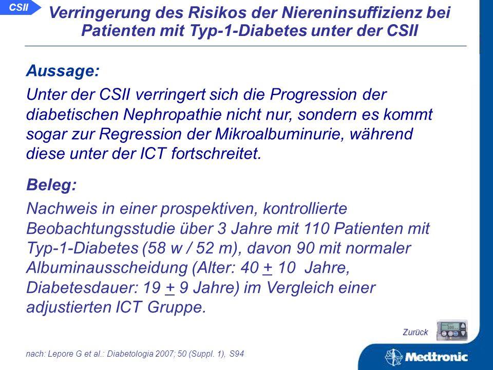 Schlussfolgerung: Unter der CSII kommt es zu einer signifikanten Regression bei vorliegender Retinopathie.