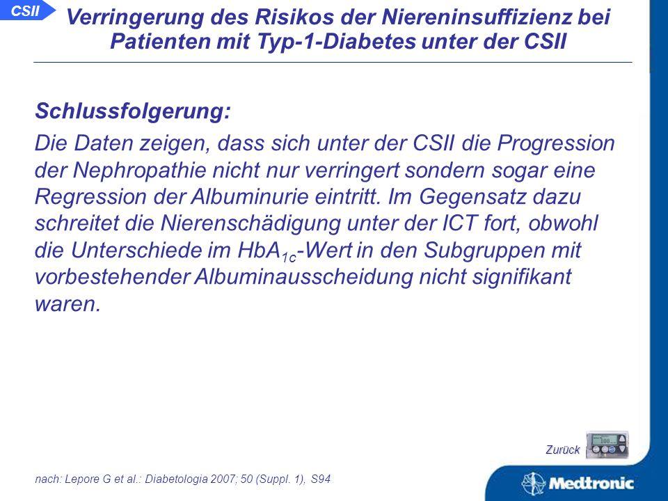 CSII Verringerung des Risikos der Niereninsuffizienz bei Patienten mit Typ-1-Diabetes unter der CSII Albuminexkretionsrate (AER) zu Beginn und nach 3 Jahren.