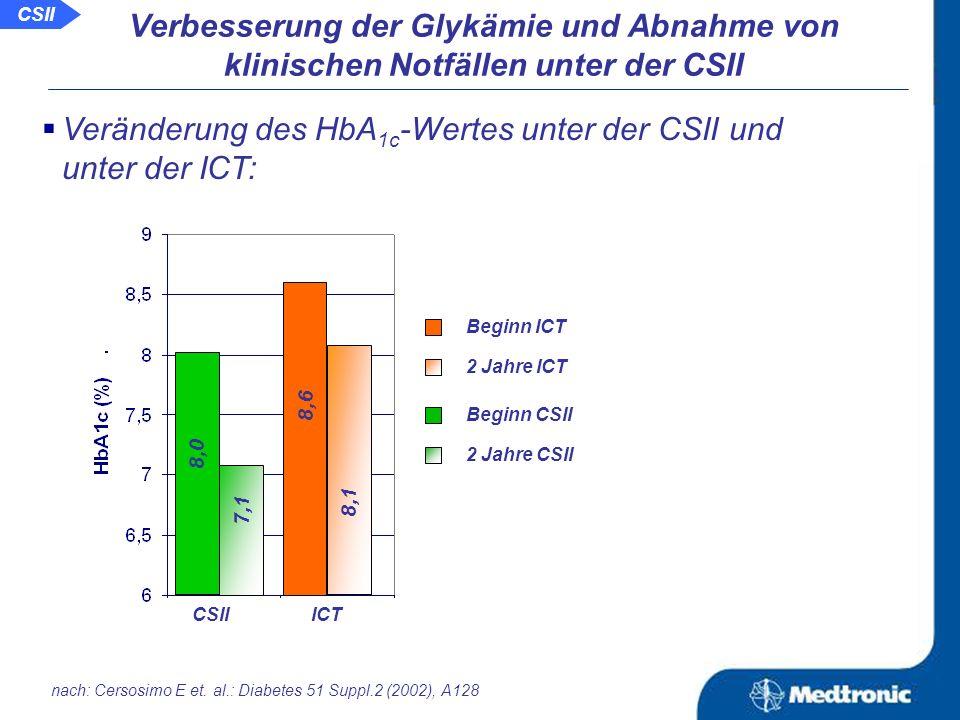 Aussage: Die CSII führt zu einer besseren Glykämie, was weniger Akutkomplikationen und dadurch auch weniger Klinikaufenthalten und Notfalleinweisungen zur Folge hat.