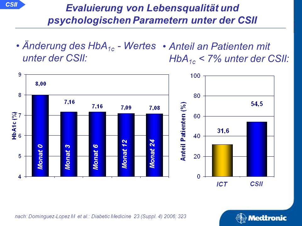 Aussage: Die CSII sorgt nicht nur für eine bessere glykämische Kontrolle sondern führt auch zu einer Verbesserung von Lebensqualität und psychologischen Parametern.