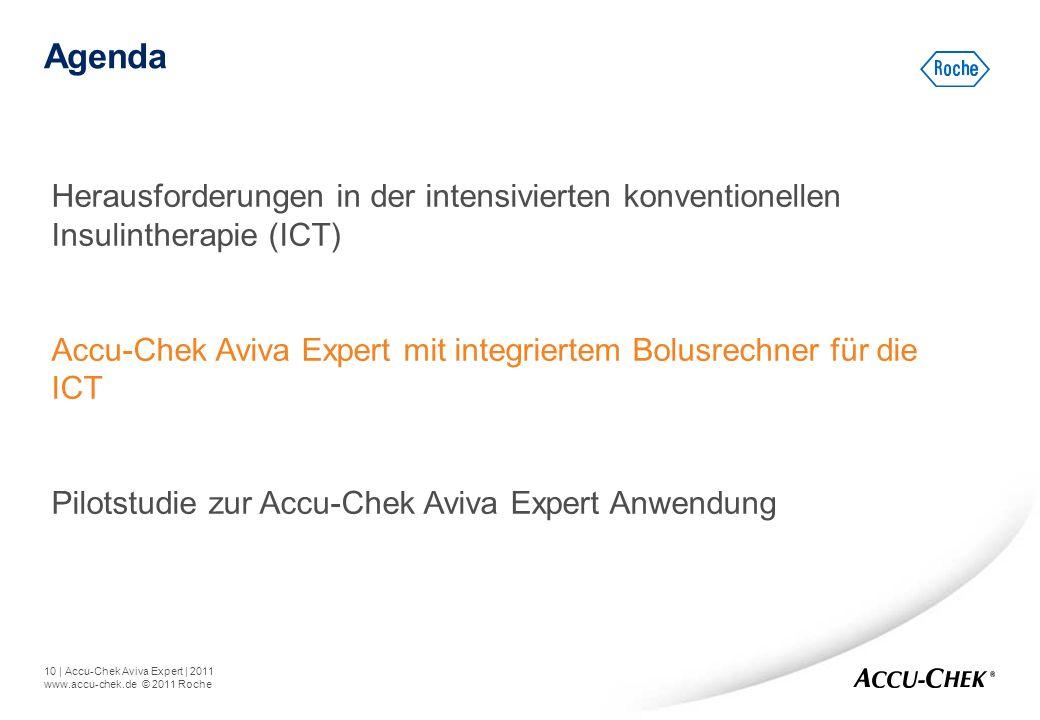 10   Accu-Chek Aviva Expert   2011 www.accu-chek.de © 2011 Roche Agenda Herausforderungen in der intensivierten konventionellen Insulintherapie (ICT)