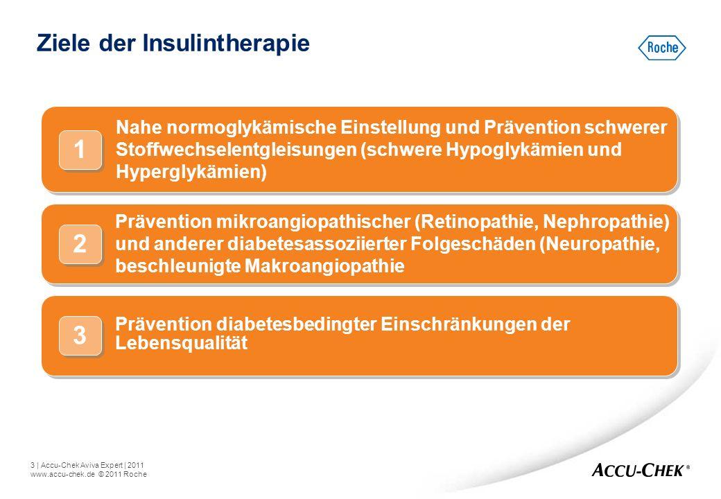 3   Accu-Chek Aviva Expert   2011 www.accu-chek.de © 2011 Roche Nahe normoglykämische Einstellung und Prävention schwerer Stoffwechselentgleisungen (s