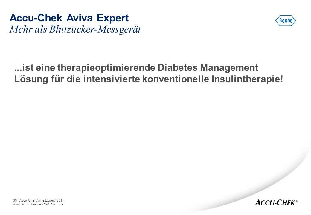 30   Accu-Chek Aviva Expert   2011 www.accu-chek.de © 2011 Roche...ist eine therapieoptimierende Diabetes Management Lösung für die intensivierte konv