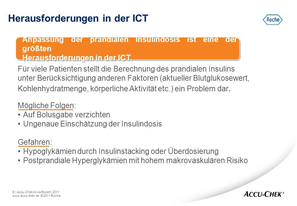 6   Accu-Chek Aviva Expert   2011 www.accu-chek.de © 2011 Roche Herausforderungen in der ICT Für viele Patienten stellt die Berechnung des prandialen
